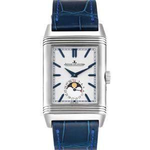 ساعة يد رجالية ياجر لي كولتر ريفيرسو تريبوت مون216.8.دي3 كيو3958420 ستانلس ستيل زرقاء 49 x 29 مم