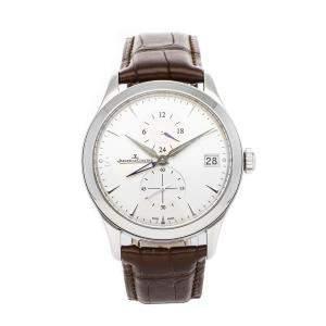 ساعة يد رجالية ياجر لي كولتر ماستر هومتايم Q1628430 ستانلس ستيل فضية 40 مم