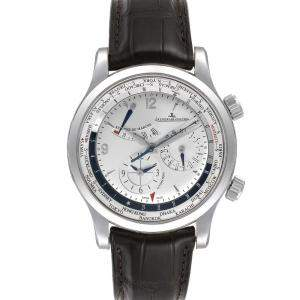 Jaeger Lecoultre Silver Stainless Steel Master World Geographic 152.84.20 Men's Wristwatch 42 MM