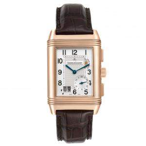 Jaeger LeCoultre Silver 18K Rose Gold Reverso Grande GMT 240.2.18 Q3022420 Women's Wristwatch 46 x 29 MM