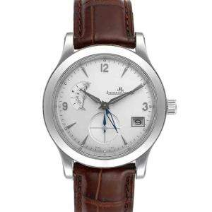 Jaeger Lecoultre Silver Stainless Steel Master Control Hometime 147.8.05.S Q1628420 Men's Wristwatch 40 MM