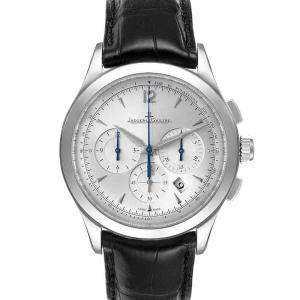 Jaeger LeCoultre Silver Stainless Steel Master Chrongraph 174.8.C1 Men's Wristwatch 40 MM