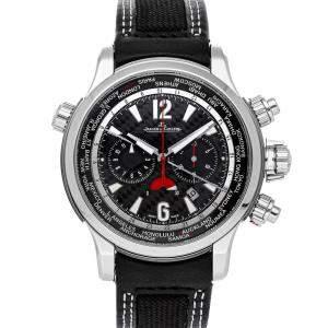 ساعة يد رجالية ياجر لي كولتر ماستر كومبريسوراكستريم وارلد كرونوغراف إصدار محدود كيو1768451 تيتانيوم سوداء 46 مم