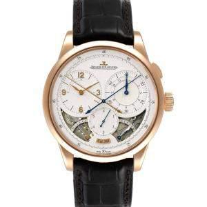 Jaeger Lecoultre Silver 18K Rose Gold Duometre Q6012521 Men's Wristwatch 42 MM