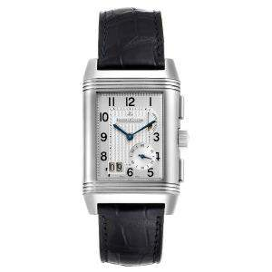 Jaeger LeCoultre Silver Stainless Steel Reverso Grande GMT 240.8.18 Q3028420 Men's Wristwatch 47 x 29 MM