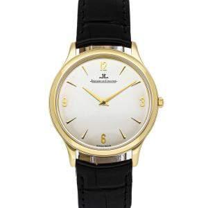 Jaeger LeCoultre Silver 18K Yellow Gold Master Ultra Thin 145.1.79 Men's Wristwatch 34 MM