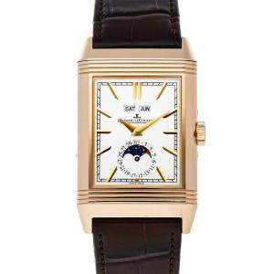 Jaeger LeCoultre Silver 18K Rose Gold Reverso Tribute Calendar Q3912420 Men's Wristwatch 49 x 29 MM