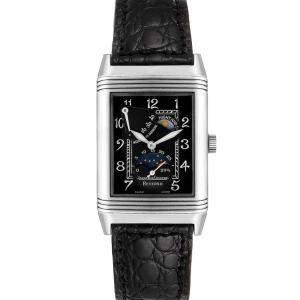 Jaeger LeCoultre Black 18K White Gold Reverso Sun Moon 270.3.63 Men's Wristwatch 42 x 26 MM