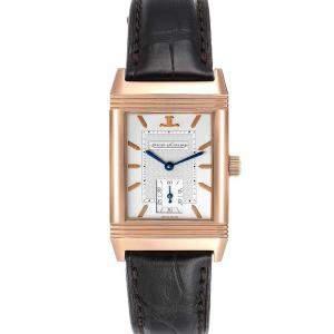Jaeger LeCoultre Silver 18K Rose Gold Reverso Art Deco 270.2.62 Men's Wristwatch 42 x 26 MM