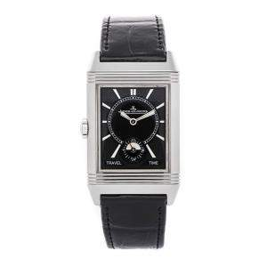 Jaeger LeCoultre Black Stainless Steel Reverso Classic Large Duoface Small Seconds Q3848420 Men's Wristwatch 47 x 28 MM