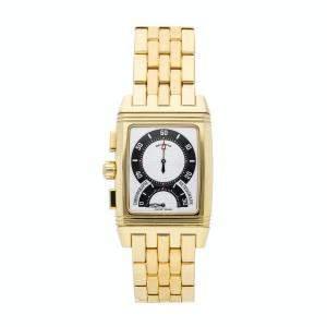 Jaeger LeCoultre Silver 18K Yellow Gold Reverso Gran Sport Retrograde Chronograph Q2951120 Men's Wristwatch 28 x 43.5 MM