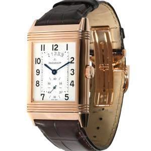 Jaeger LeCoultre White 18K Rose Gold Grande Reverso Duo Q3742521 Men's Wristwatch 48.5 x 29.5 MM