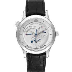 ساعة يد رجالية ياجر لي كولتر ماستر جيوغرافيك 142.8.92.أس كيو1428420 جلد ستانلس ستيل فضي 38مم