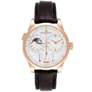 Jaeger Lecoultre Silver 18K Rose Gold Duometre Quantieme Lunaire Q6042421 Men's Wristwatch 40.5 MM