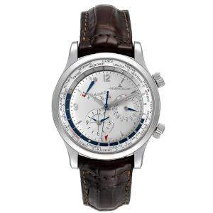 Jaeger Lecoultre Silver Stainless Steel Master World Geographic 146.8.32.S Q1528420 Men's Wristwatch 41.5 MM