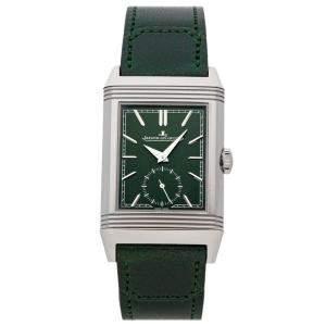 ساعة يد رجالية ياجر لي كولتر Q3978430 تريبوت مونوفيس ريفرسو ستانلس ستيل خضراء 46 x 27 مم
