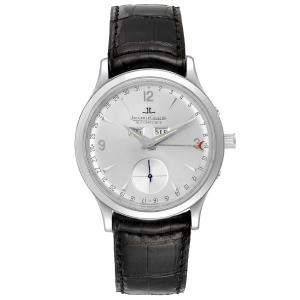 Jaeger Lecoultre Silver Stainless Steel Master Tripple Date Calendar 140.8.87 Q147812A Men's Wristwatch 37 MM