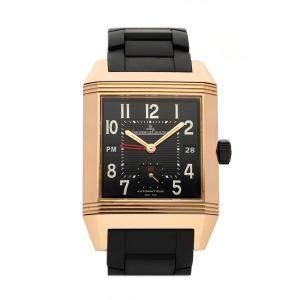 Jaeger LeCoultre Black 18k Rose Gold Reverso Squadra Hometime Limited Edition Q7002671 Men's Wristwatch 35 x 41 MM