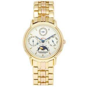 Jaeger LeCoultre White 18k Yellow Gold Vintage Odysseus Perpetual Calendar 166.7.80 Men's Wristwatch 35 MM