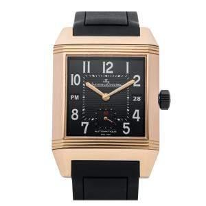 Jaeger LeCoultre Black 18K Rose Gold Reverso Squadra Hometime Q7002672 Men's Wristwatch 35 x 52 MM