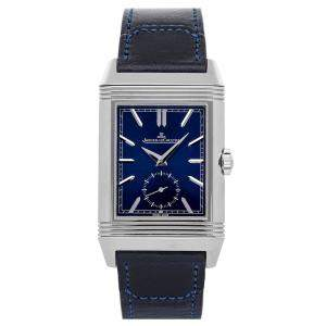 Jaeger LeCoultre Blue Stainless Steel Reverso Tribute Duo Q3988482 Men's Wristwatch 47 x 28 MM
