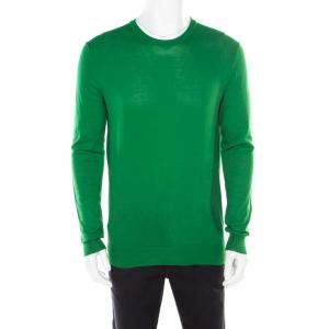 Jil Sander Parrot Green Rib Knit Long Sleeve Crew Neck Pullover L