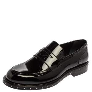Jimmy Choo Black Patent Leather Slip On Loafers Size 42