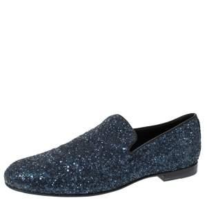 Jimmy Choo Blue Glitter Devour Smoking Slippers Size 42