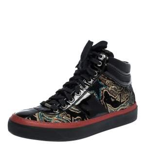 Jimmy Choo Multicolor Printed Canvas and Patent Leather High Top Sneakers Size 41