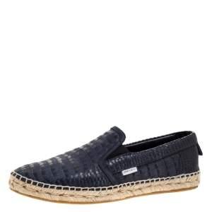 Jimmy Choo Blue Croc Embossed Leather Vlad Slip On Sneakers Size 42