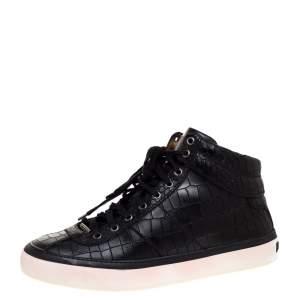 Jimmy Choo Black Croc Embossed Leather Belgravia High Top Sneakers Size 44