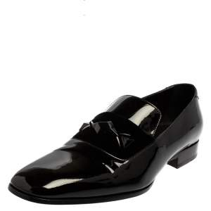 Jimmy Choo Black Patent Leather Slip On Loafers Size 43