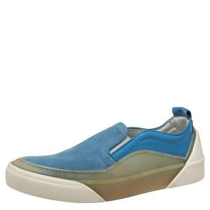 Jimmy Choo Blue/Green Suede And Leather Slip On Sneakers Size 44