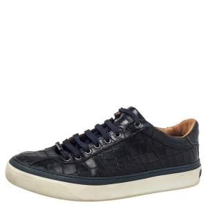 Jimmy Choo Black Croc Embossed Leather Belgravia Low Top Sneakers Size 41