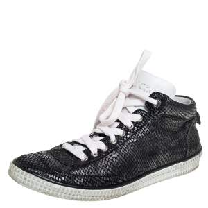 Jimmy Choo Metallic Black Python Embossed Leather High Top Sneakers Size 43