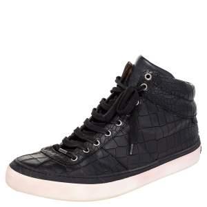Jimmy Choo Black Crocodile Embossed Leather Belgravia High Top Sneakers Size 45