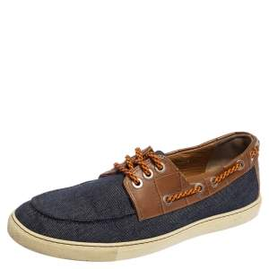 Jimmy Choo Blue/Brown Croc Embossed Leather and Denim Cheyne Boat Loafers Size 42.5