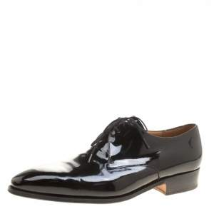 J.M.Weston Black Patent Leather Lace Up Derby Size 43