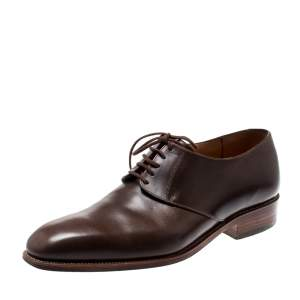 J.M Weston Brown Leather Lace Up Derby Size 41