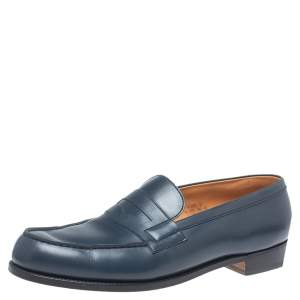 JM Weston Blue Leather Penny Loafers Size 44