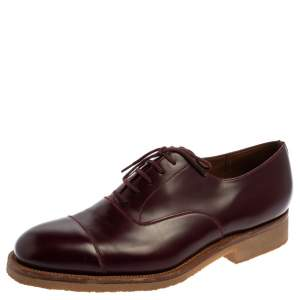 J.M.Weston Burgundy Leather Cap Toe Lace Up Oxford Size 41