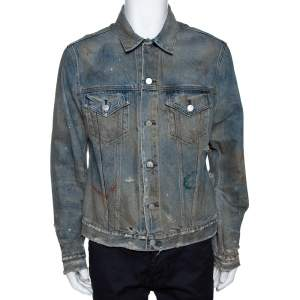 John Elliott Blue Rustic Distressed Denim Terrain Jacket XL