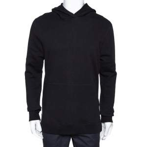 John Elliott Black Cotton Side Zip Detail Hooded Villain Sweatshirt L
