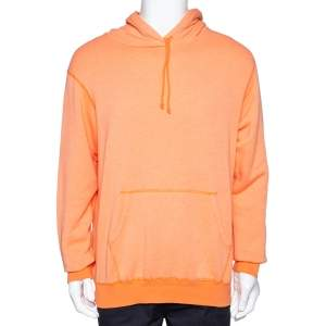 John Elliott Orange Vintage Fleece Lightweight Hoodie L