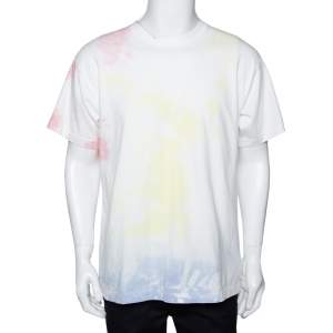 John Elliott White Cotton Ink Bloom University Tie Dye Crew Neck T Shirt M