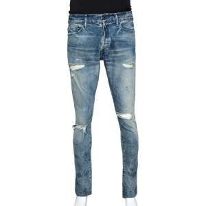 John Elliott Blue Distressed Denim The Cast 2 Slim Fit Jeans M