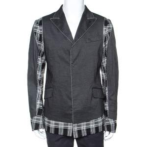 John Galliano Grey Linen Blend Plaid and Dotted Patch Detail Blazer L