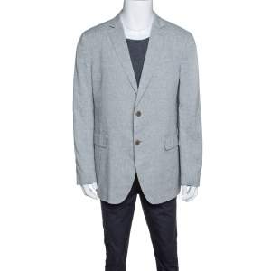 John Varvatos Grey Slub Linen Tailored Blazer XXL
