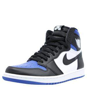 Jordan Blue/Black Leather Jordan 1 Royal Toe Sneakers Size 42