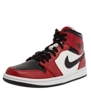 Nike Jordan 1 Mid Union Red Leather High Top Sneakers Size 41